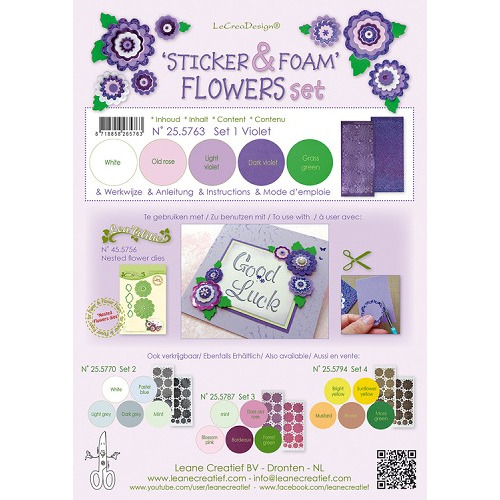 Sticker &  Foam Flowers Set 1, 5 sheets A4 0.8mm. violet  & 2 nested flower stickers  incl. instruct