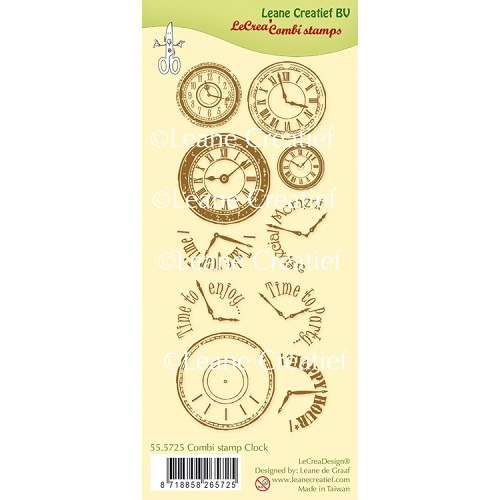 LeCreaDesign® Combi clear stamp Clock
