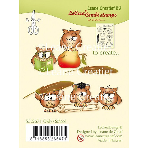 LeCreaDesign® combi clear stamp Owly / School