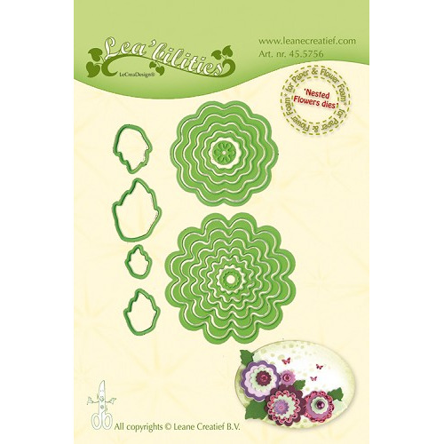 Leabilitie® Nested Flower dies  snijmal (combineren mogelijk met bloemen stickers)