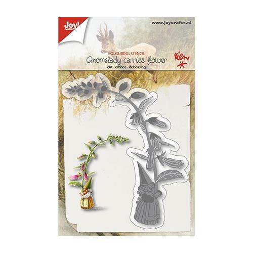 Snij-kleurstencil - Kaboutervrouw draagt bloem