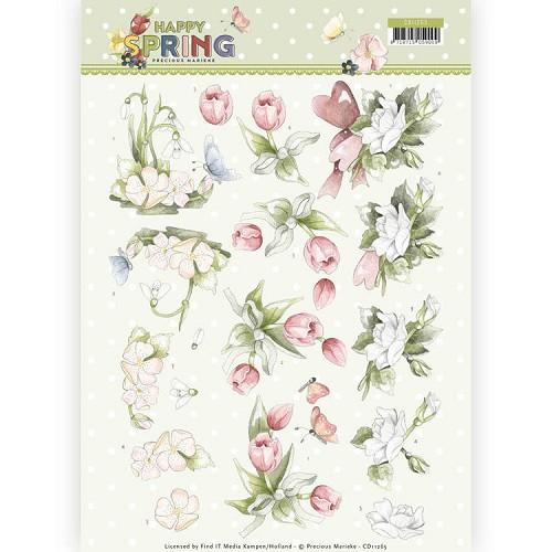 3D Knipvel - Precious Marieke - Happy Spring - Happy Spring Flowers