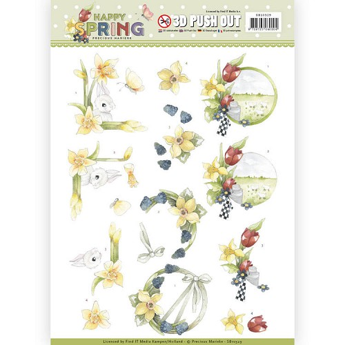 3D Pushout - Precious Marieke - Happy Spring - Happy Daffodils