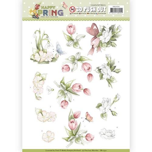 3D Pushout - Precious Marieke - Happy Spring - Happy Spring Flowers