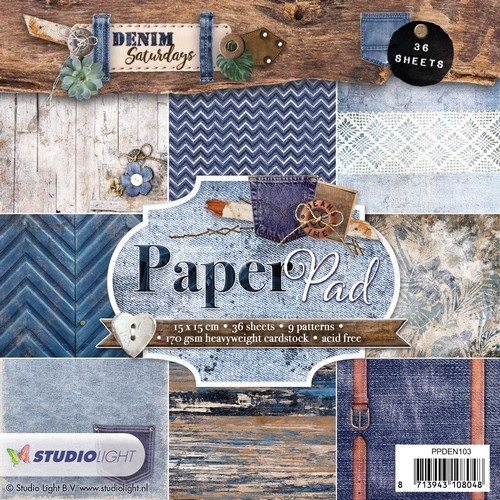 Studio Light Paper pad 36 vel Denim Saturdays nr 103 PPDEN103 15x15cm (01-19)