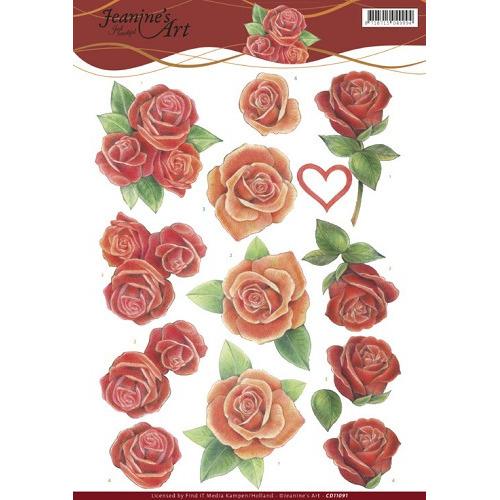 3D Knipvel - Jeanine`s Art - Roses