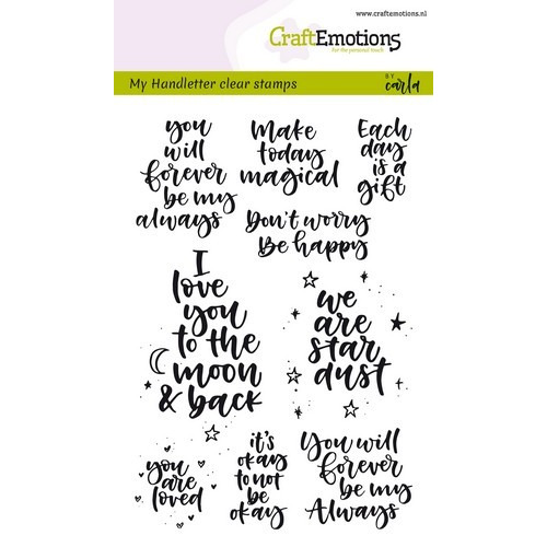 CraftEmotions clearstamps A6 - handletter - happy feelings (Eng) Carla Kamphuis (02-19)
