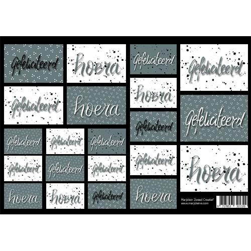 Marjoleine`s Decoupage sheets - oudgroene kaartjes (NL) A4