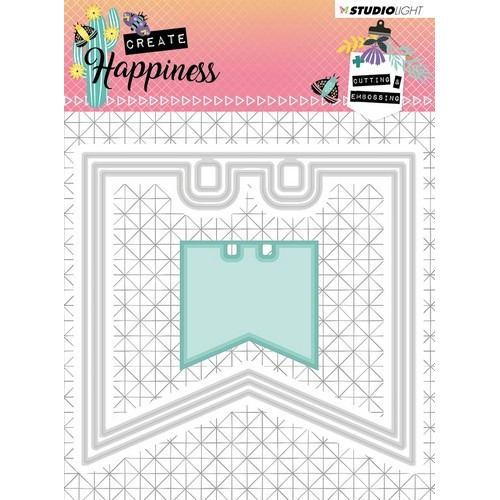 Studio Light Embossing Die 104x97 mm Create Happiness nr.153 STENCILCR153 (02-19)