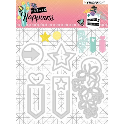 Studio Light Embossing Die 104x95 mm Create Happiness nr.155 STENCILCR155 (02-19)