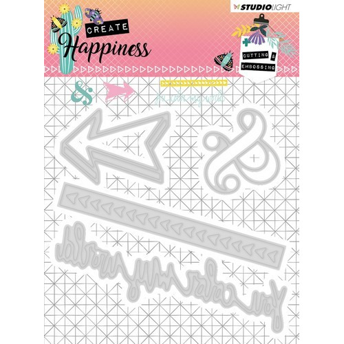 Studio Light Embossing Die 104x101 mm Create Happiness nr.156 STENCILCR156 (02-19)