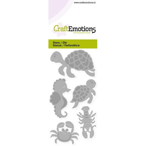 CraftEmotions Die - schildpad, zeepaardje Card 5x10cm (02-19)