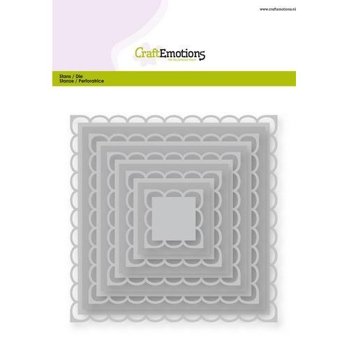 CraftEmotions Big Nesting Die - vierkanten scalop XL open Card 150x160 2,2-12,8cm (02-19)