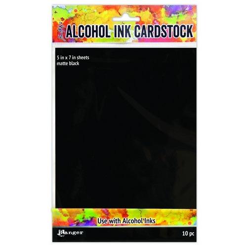 Ranger Alcohol Ink Surfaces Black Matte 5x7 10 Sh TAC65487 Tim Holtz (02-19)