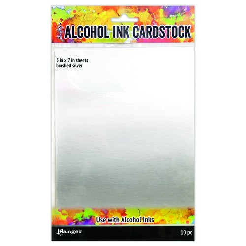 Ranger Alcohol Ink Surfaces Brushed Silver 5x7 10 sh TAC65494 Tim Holtz (02-19)