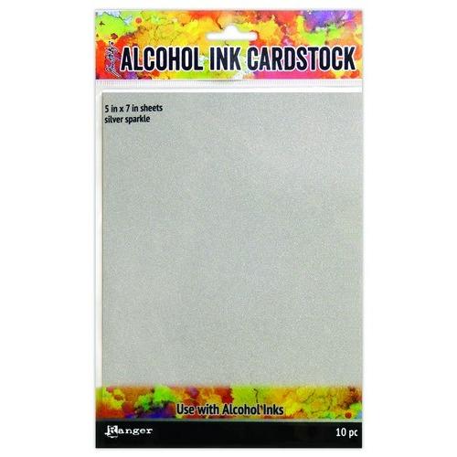 Ranger Alcohol Ink Surfaces Silver Sparkle 5x7 10 sh TAC65500 Tim Holtz (02-19)