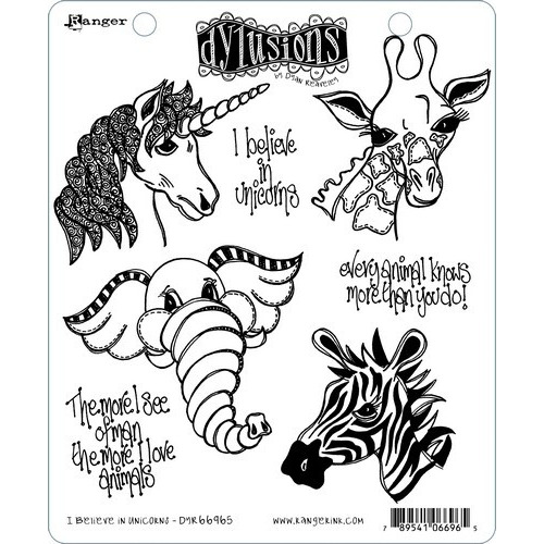 Ranger Dylusions Cling Stamp Set I Believe in Unicorns DYR66965 Dyan Reaveley (02-19)