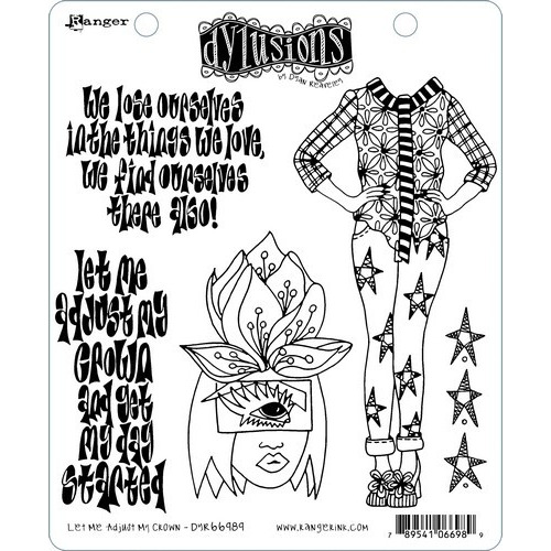 Ranger Dylusions Cling Stamp Set Let Me Adjust My Crown DYR66989 Dyan Reaveley (02-19)