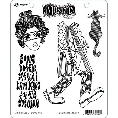 Ranger Dylusions Cling Stamp Set The Cat and I DYR67016 Dyan Reaveley (02-19)