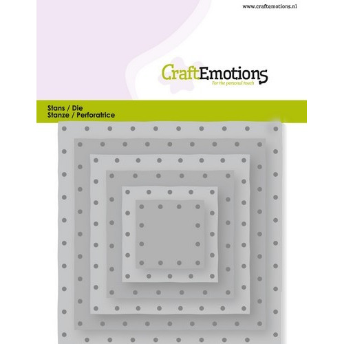 CraftEmotions Die - vierkanten vintage - klinknagels Card 11x9cm - 2,8-9,1cm (04-19)