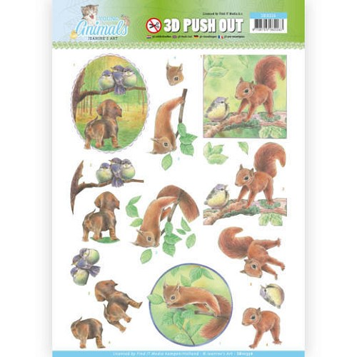 3D Pushout - Jeanine`s Art - Young Animals - In the Forest