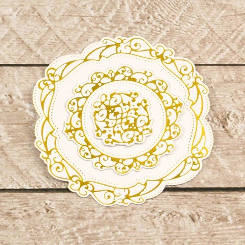 Cut, Foil and Emboss Decorative Nesting Circular Flourished Frames