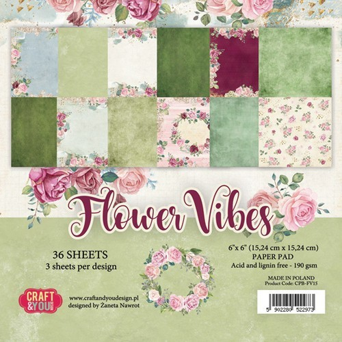 Craft&You Flower Vibes small paper pad 6x6 36 vel CPB-FV15 (02-19)