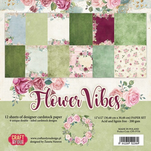 Craft&You Flower Vibes big paper set 12x12 12 vel CPS-FV30 (02-19)