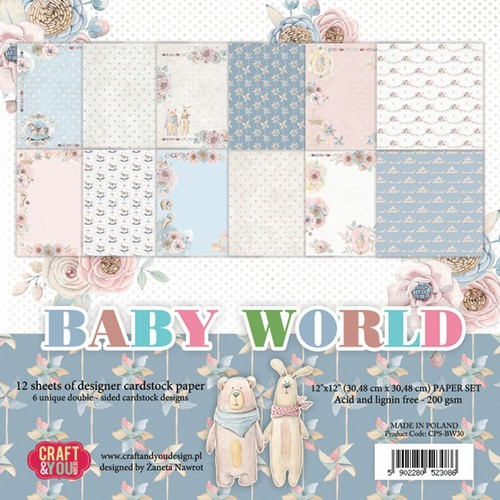 Craft&You Baby World big paper set 12x12 12 vel CPS-BW30 (02-19)
