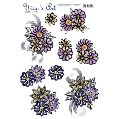 3D Knipvel - Yvon`s Art - Flower Corsage