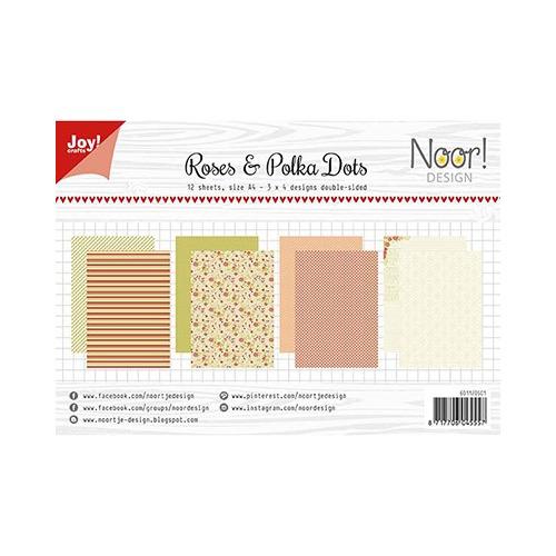 Papier Set A4 Design Roses & Polkadots