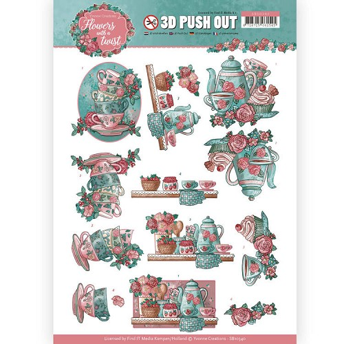 3D Pushout - Yvonne Creations - Flowers with a Twist - Tea Time