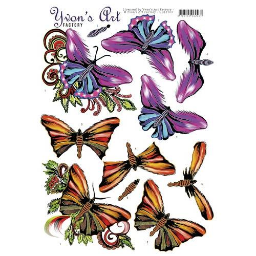 3D Knipvel -Yvon`s Art-Butterflies