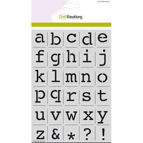 CraftEmotions stencil - alfabet kleine letters Courier A5 - H=21mm A5 (02-19)