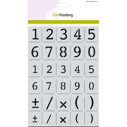 CraftEmotions stencil - alfabet cijfers Courier A5 - H=16 & 23mm A5 (02-19)