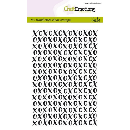 CraftEmotions clearstamps A6 - handletter XOXO achtergrond Carla Kamphuis (02-19)