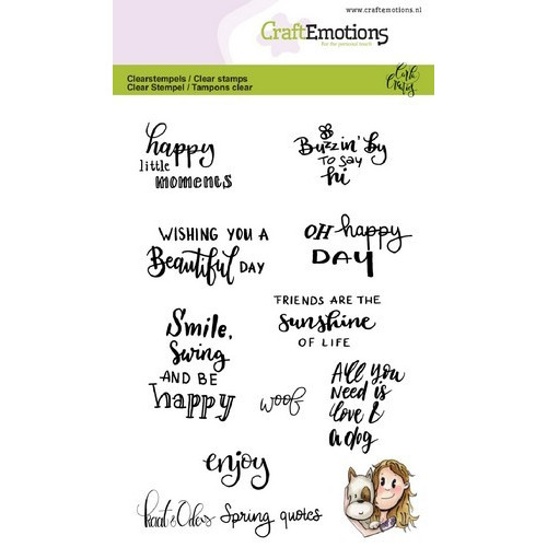 CraftEmotions clearstamps A6 - Kaat en Odey Spring quotes (Eng) Carla Creaties (02-19)