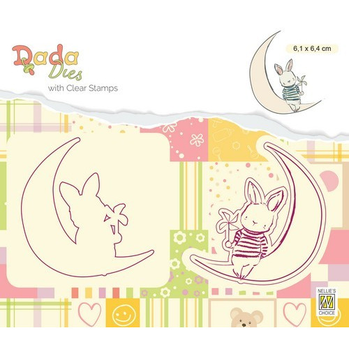 Nellies Choice DADA Die with clear stamp maan DDCS007 61x64mm (03-19)