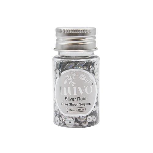 Nuvo Pure sheen sequins - silver rain 35ml bottle 1144N (04-19)