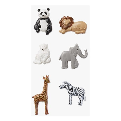 Mini Africa dieren met plakpunt, ca. 2,5 cm, buidel met 6 st