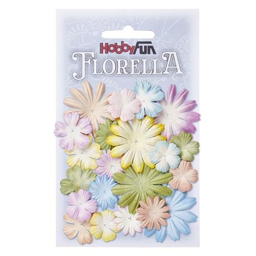 FLORELLA Bloemen uit moerbijpapier, mix II, ca. 20 st 2 - 4 cm
