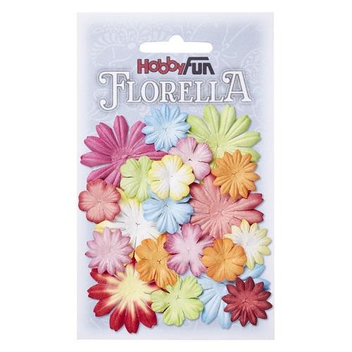 FLORELLA Bloemen uit moerbijpapier, mix I, ca. 20 st 2 - 4 cm