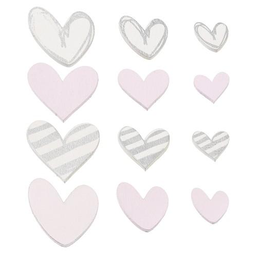 Strooidelen Harten, ca. 2 - 4 cm, wit/roze, buidel met 12 st