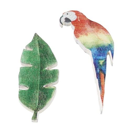 Papegaai en blad met plakpunt, 4 cm, buidel met 4 st