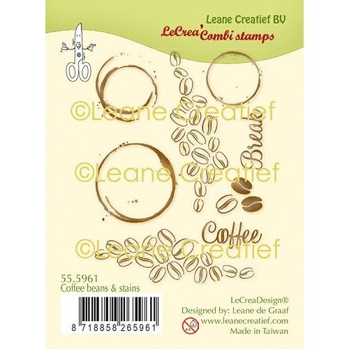 LeCreaDesign® combi clear stamp Koffiebonen en vlekken