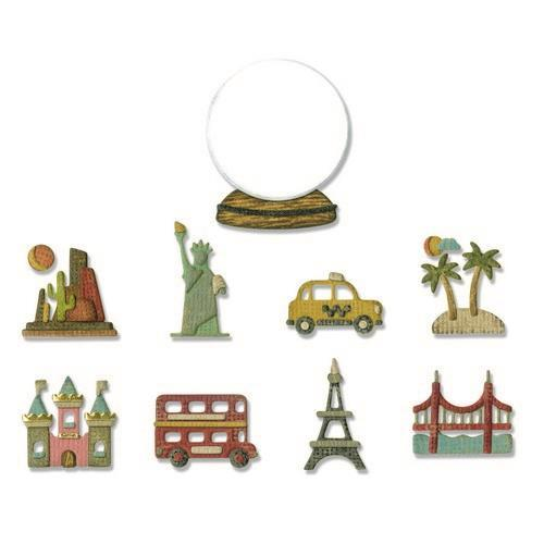 Sizzix Thinlits Die Set - 10PK Tiny Travel Globe 664182 Tim Holtz (04-19)