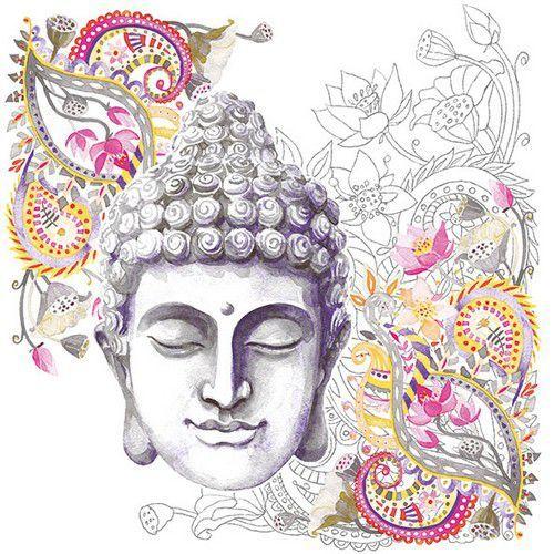 CraftEmotions servetten 5st - Buddha hoofd 33x33cm Ambiente 13313036 (04-19)