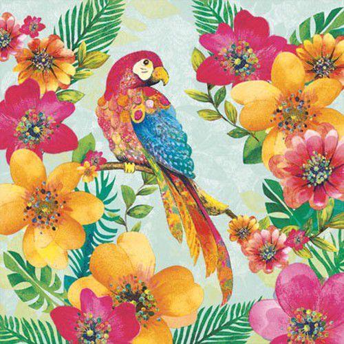 CraftEmotions servetten 5st - Tropisch - papegaai 33x33cm Ambiente 13308195 (04-19)