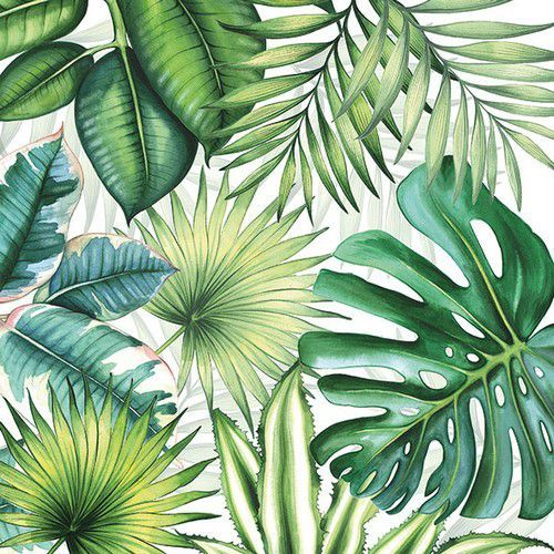 CraftEmotions servetten 5st - Tropische bladeren 33x33cm Ambiente 13310940 (04-19)