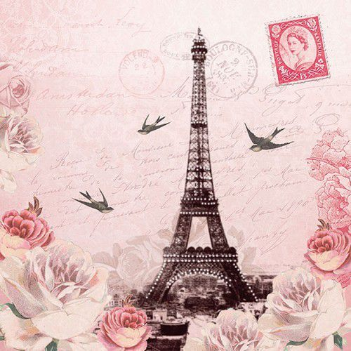 CraftEmotions servetten 5st - Letter to Paris 33x33cm Ambiente 13311380 (04-19)